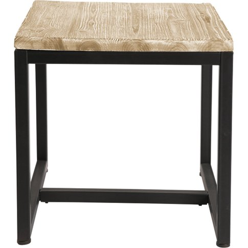 Solid Fir And Metal Industrial Side Table In Whitewa...