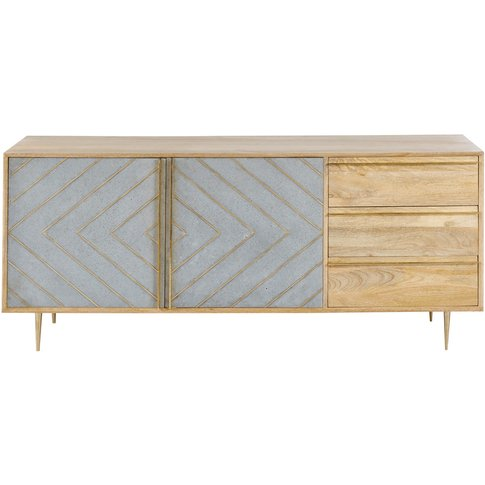 Solid Mango Wood 2-Door 3-Drawer Sideboard Carlotta