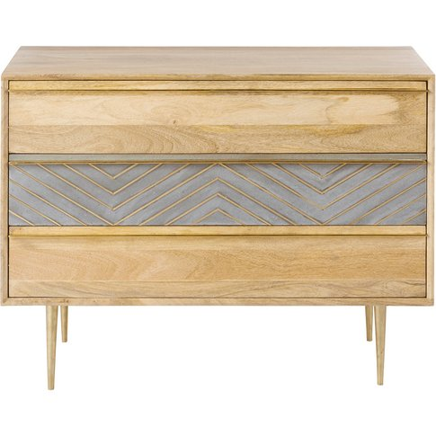 Solid Mango Wood 3-Drawer Chest Carlotta