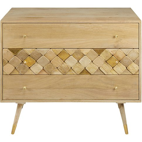 Solid Mango Wood 3-Drawer Chest Salome