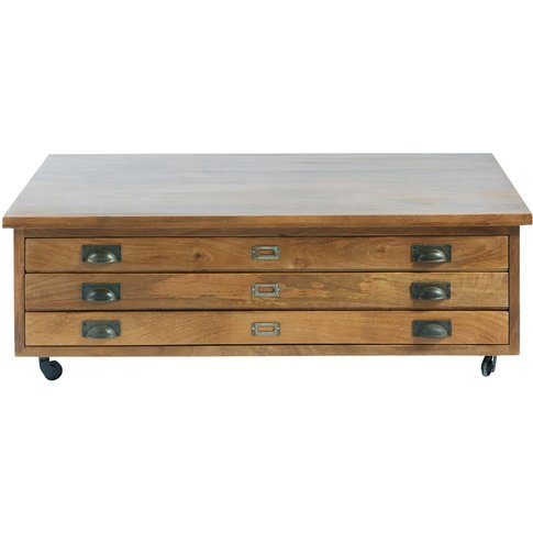 Solid Mango Wood 3-Drawer Wheeled Coffee Table Hipster