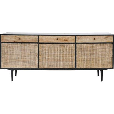 Solid Mango Wood and Acacia 3-Door 3-Drawer Sideboar...
