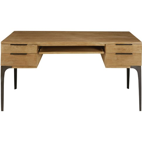 Solid Mango Wood And Acacia 4-Drawer Desk Metropolis
