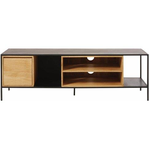 Solid Mango Wood And Black Metal 1-Door Tv Cabinet W...