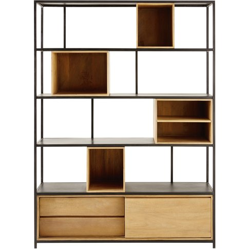 Solid Mango Wood And Black Metal 2-Drawer Bookcase W...