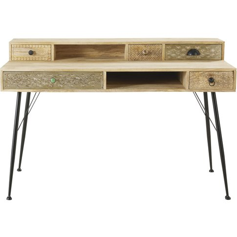 Solid Mango Wood And Metal 5-Drawer Desk Iroquois