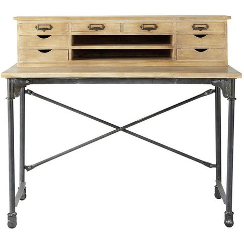 Solid Mango Wood And Metal Writing Desk W 117cm Arch...