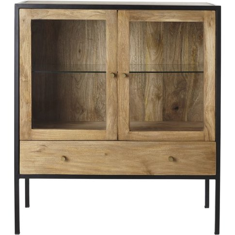Solid Mango Wood And Tempered Glass 2-Door 1-Drawer ...