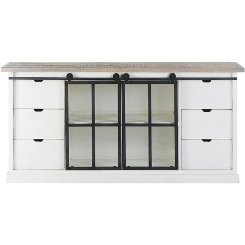 Solid Mango Wood And Tempered Glass 2-Door 6-Drawer ...