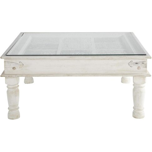 Solid Mango Wood Indian Coffee Table In White W 100c...