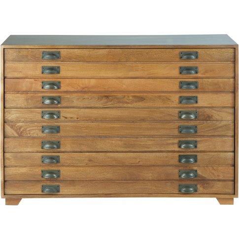 Solid Mango Wood Industrial 4-Drawer Cabinet Hipster