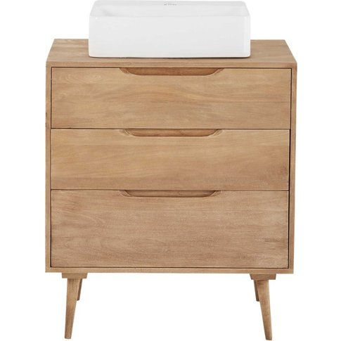 Solid Mango Wood Single Sink 2-Drawer Bathroom Vanit...