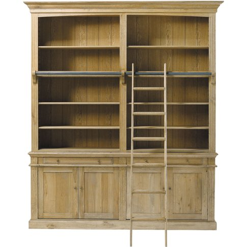 Solid Oak 2-Drawer 4-Door Bookcase With Ladder Atelier
