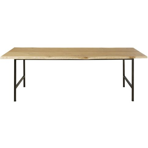 Solid Oak And Black Metal 8-Seater Dining Table Magnus