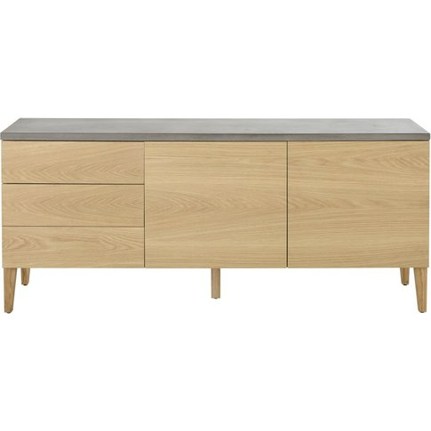 Solid Oak and Concrete 2-Door 3-drawer Sideboard Grey