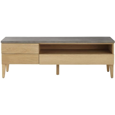 Solid Oak and Concrete 3-Drawer TV Unit Grey