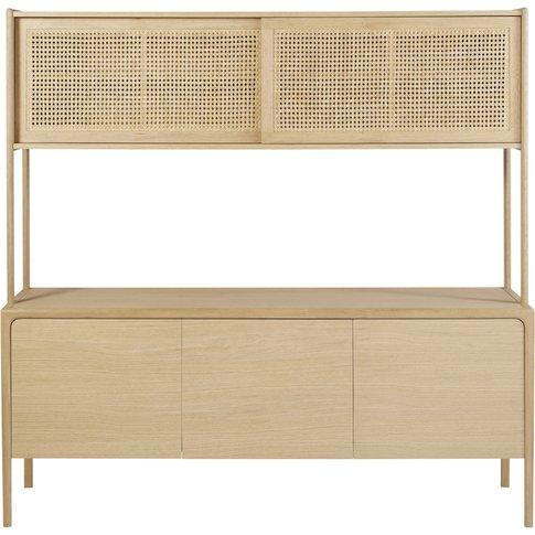 Solid Oak And Rattan Cane Double Sideboard Canopy