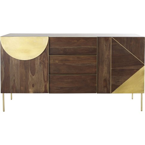 Solid Sheesham And Golden Metal 2-Door 3-Drawer Side...