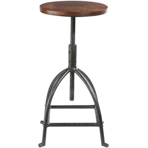 Solid Sheesham and Metal Industrial Stool Industry