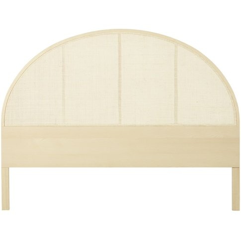Solid Sycamore and Beech Headboard with Woven Rattan...