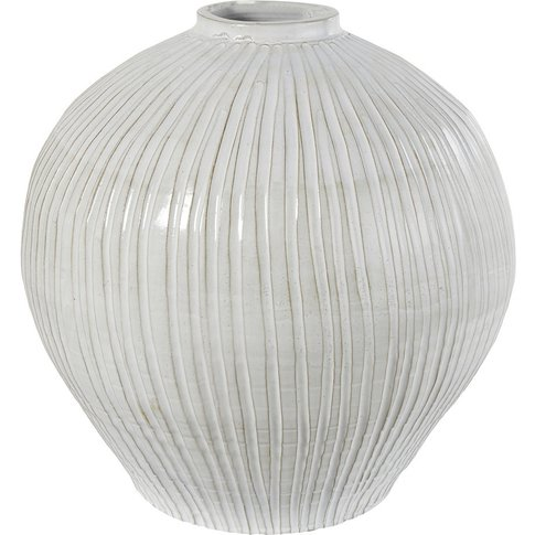 Spherical White Terracotta Vase H49