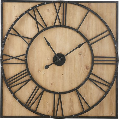 Square Pine And Metal Clock With Rivets 110x110