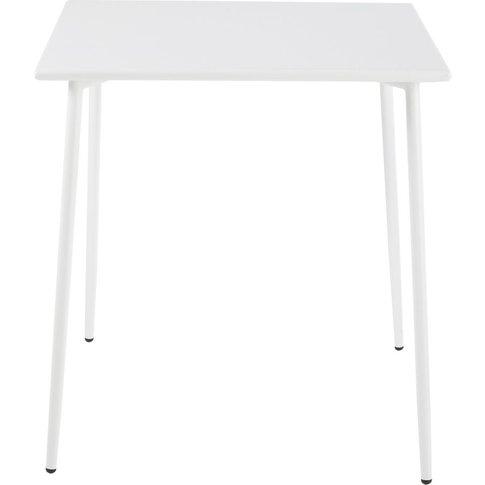 Square White Metal 4-Seater Garden Table L70 Zinav