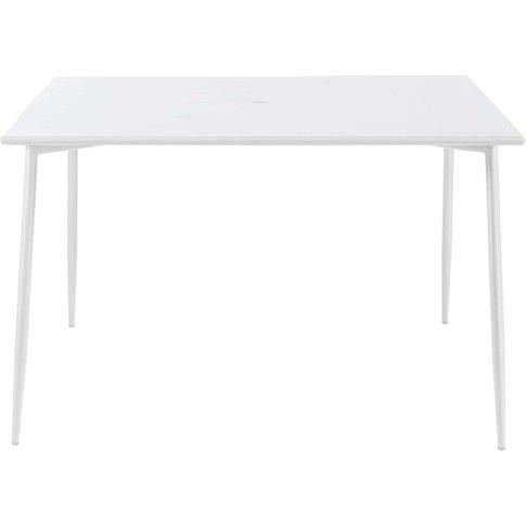 Square White Metal 8-Seater Garden Table L120 Zinav
