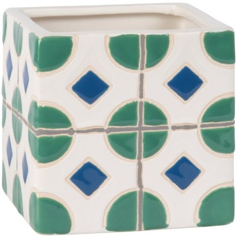 Stoneware Planter With Cement Tile Print H12