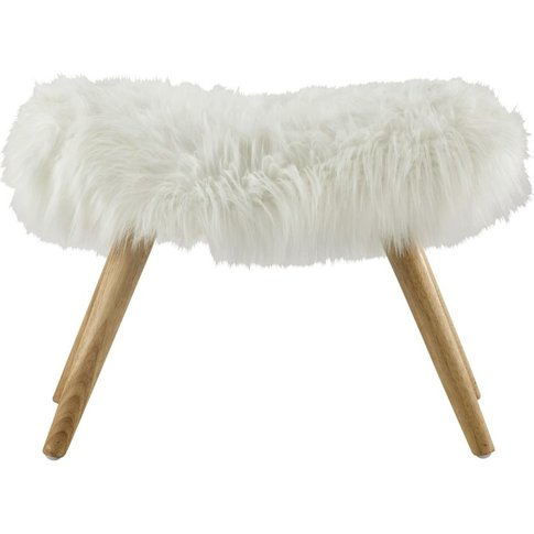 Stool In White Faux Fur And Pine Feet