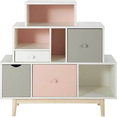 Storage Cabinet With 4 White, Pink And Grey Drawers ...