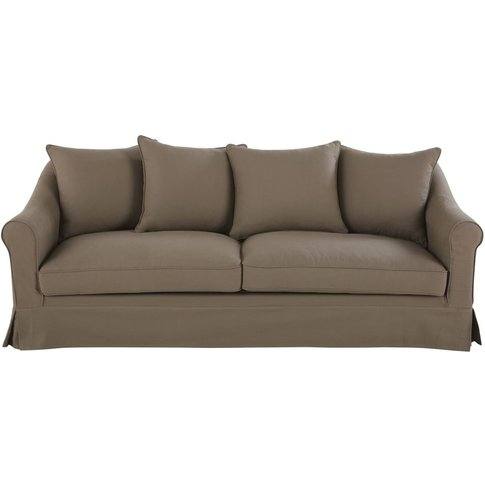 Taupe 4-Seater Cotton Sofa Bed Joanne