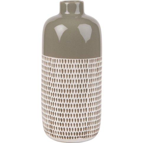 Taupe Ceramic Vase With Graphic Print H30