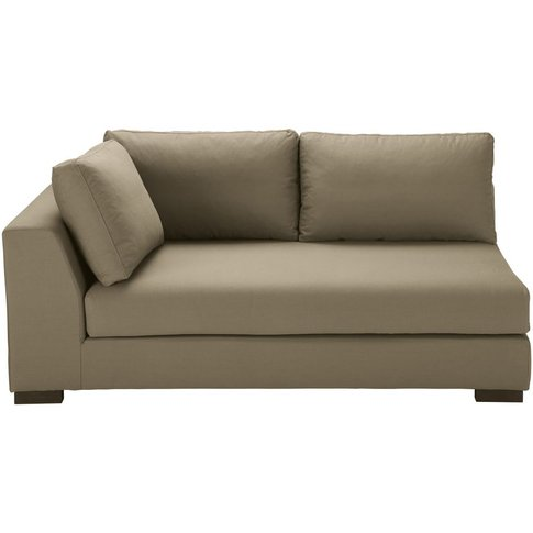 Taupe-Coloured Cotton Modular Left Armrest Sofa Bed ...