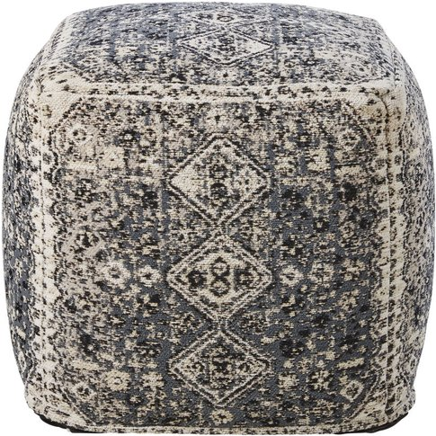 Taupe Cotton Pouffe with Brown Print