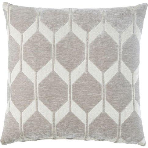 Taupe Velvet Cushion With Jacquard Print 45x45