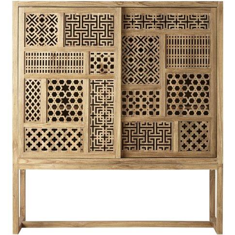 Teak 2-Door Cut Out Storage Cabinet Kasbah