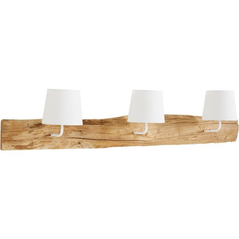Teak Triple Wall Lamp with White Shades