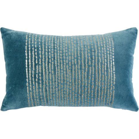 Teal Velvet Cushion With Gold Graphic Print 25x40