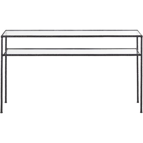 Tempered Glass And Black Hammered Metal Console Tabl...