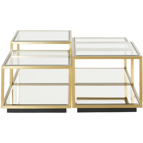 Tempered Glass And Gold Metal Nesting Tables Greenwich