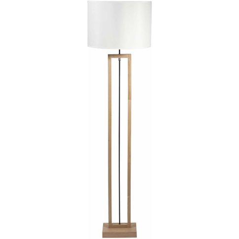 Terminalier Wood Floor Lamp With White Cotton Lampsh...
