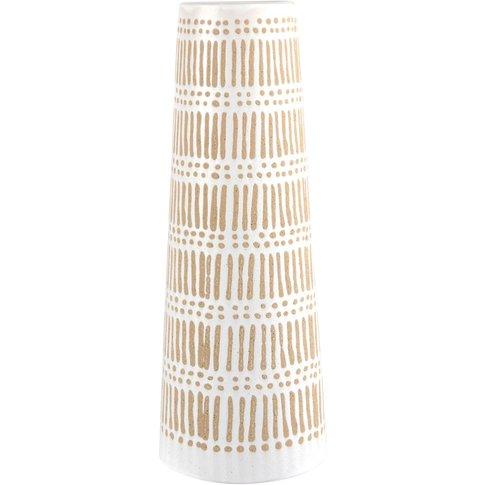 Trapezoid Beige And White Stoneware Vase H31