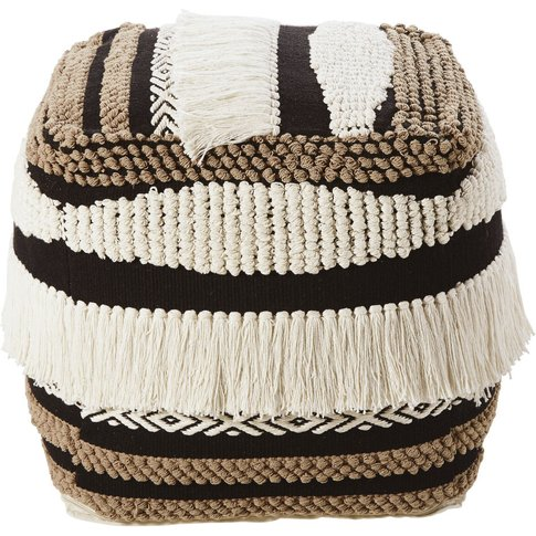 Tricoloured Woven Cotton Pouffe With Fringing
