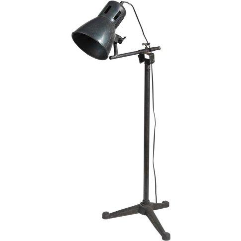 Tristan Metal Adjustable Industrial Floor Lamp In Black H 125cm