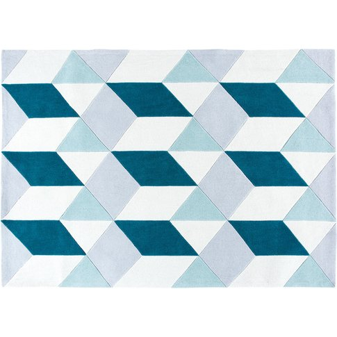 Tufted Rug With Blue Graphic Motifs 160x230
