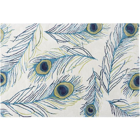 Tufted Wool Rug With Print 140x200