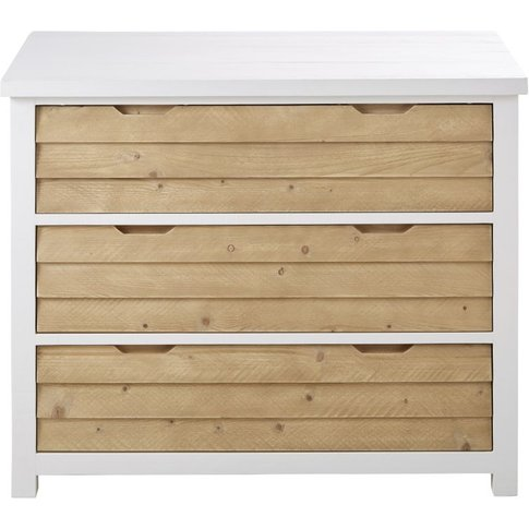 Two-Tone 3-Drawer Solid Spruce Wood Chest Of Drawers...