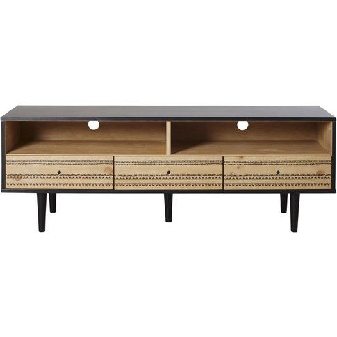 Two Tone 3-Drawer Tv Unit With Painted Print Mayana