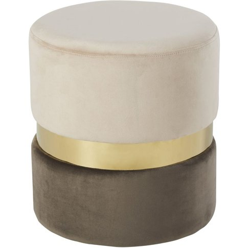 Two-Tone Velvet And Gold Metal Stool
